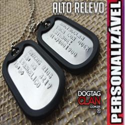 Dog tag alto relevo com borda Exército americano gravado com seus dados