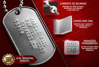 DOG TAG PLACA DE IDENTIFICAÇÃO ALTO RELEVO